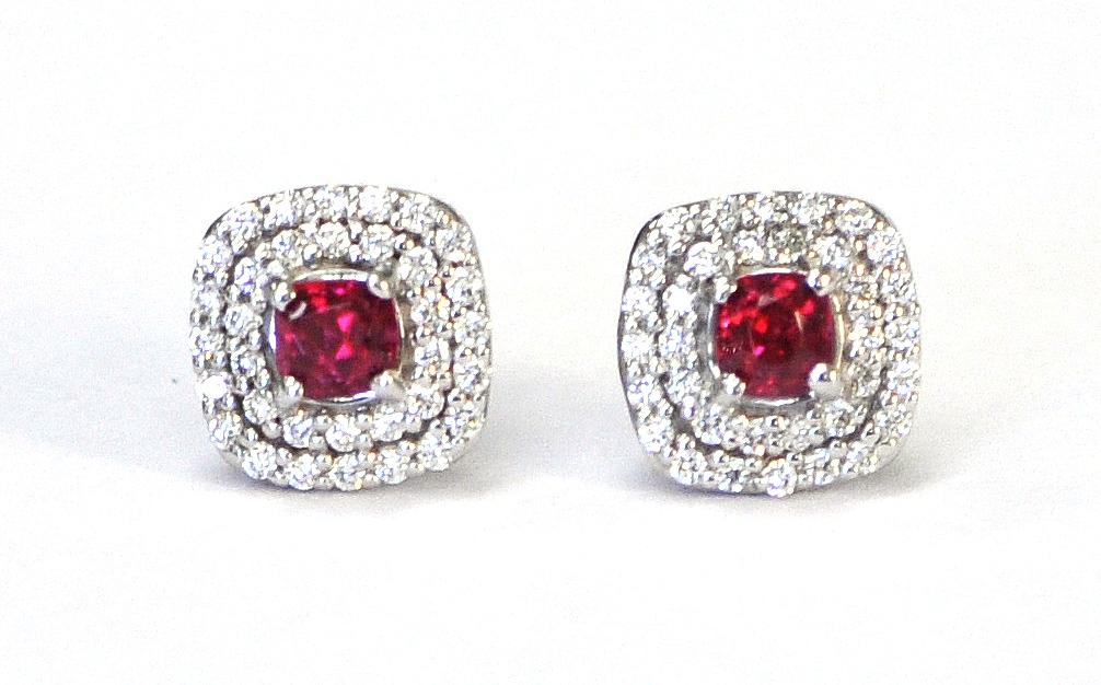 Red Spinel & Diamond Earrings