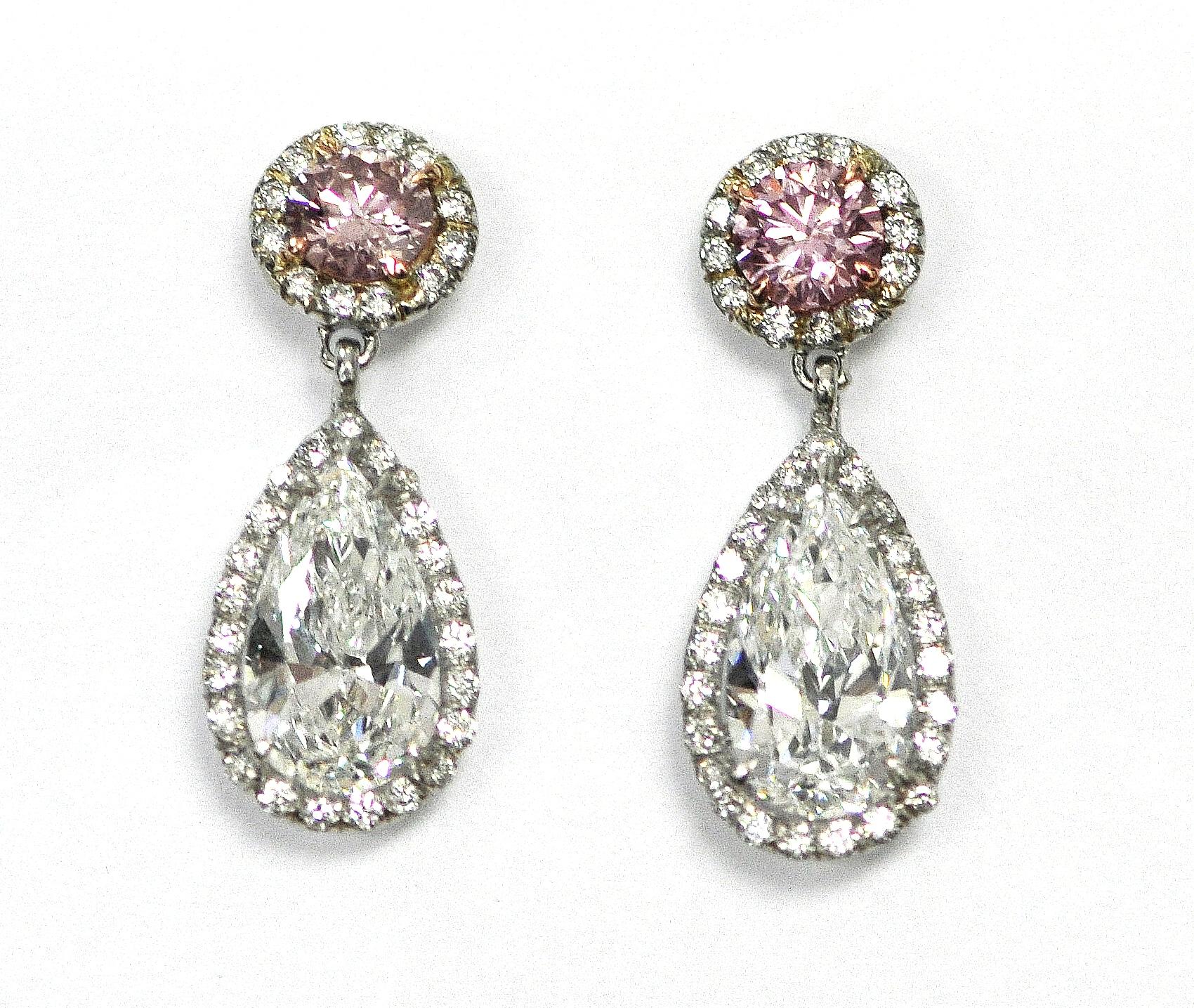 White & Pink Diamond Earrings