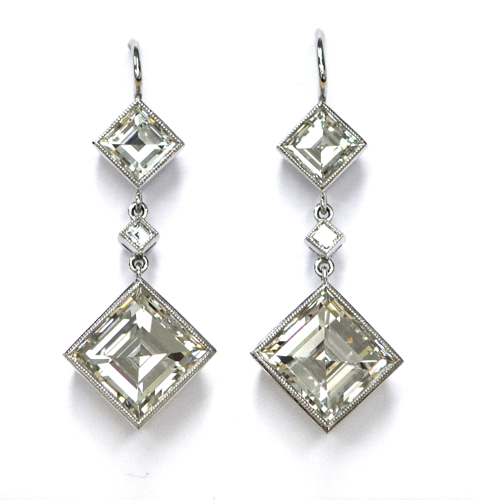 10ct Square Cut Diamond Earrings