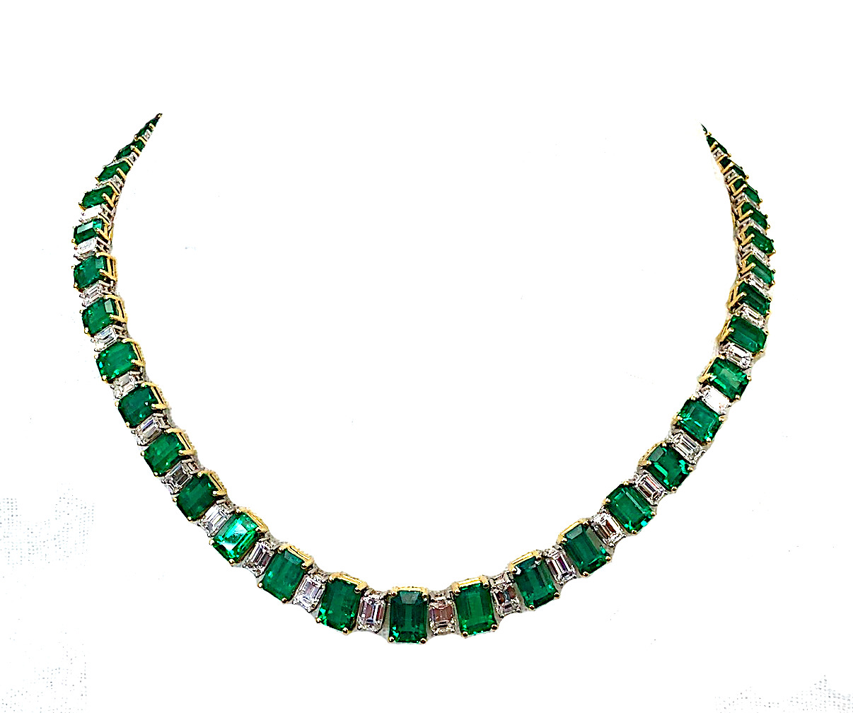 38ct Emerald and Diamond Necklace