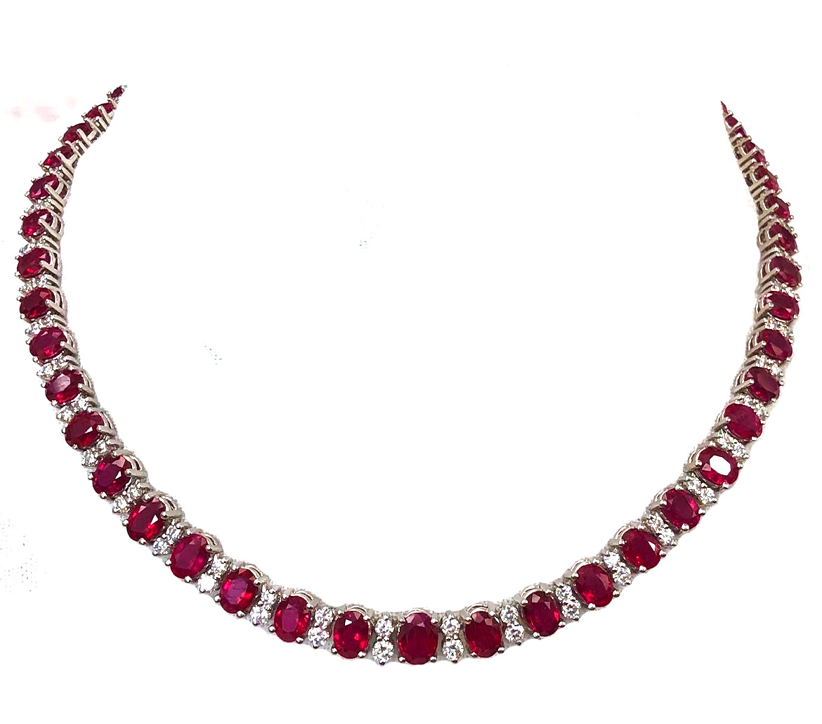 37.50ct Ruby and Diamond Necklace