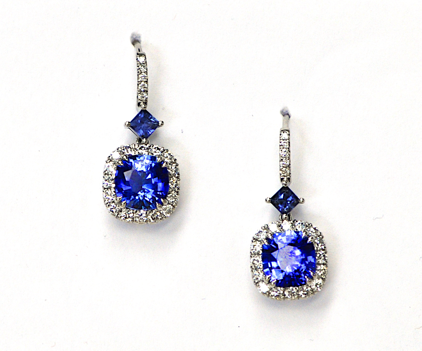 4ct Sapphire & Diamond Earrings