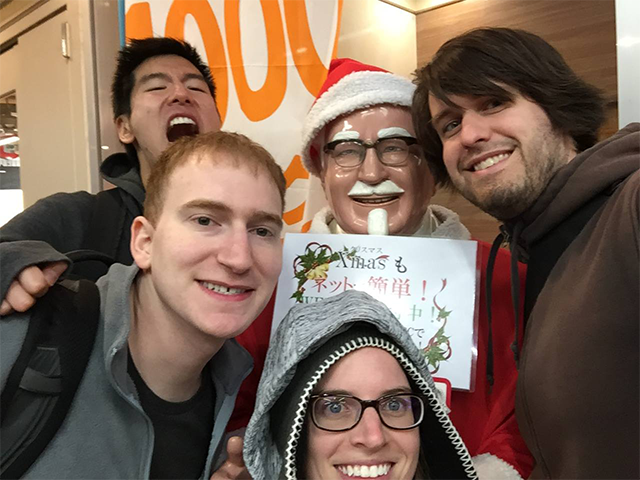 My traveling companions and me with Colonel Santa Sanders in Hiroshima. Happy holidays!