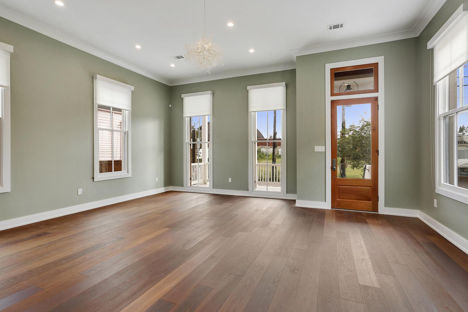 Living Room with unique light fixture and view of the Corten Steel Rainbow Bridge