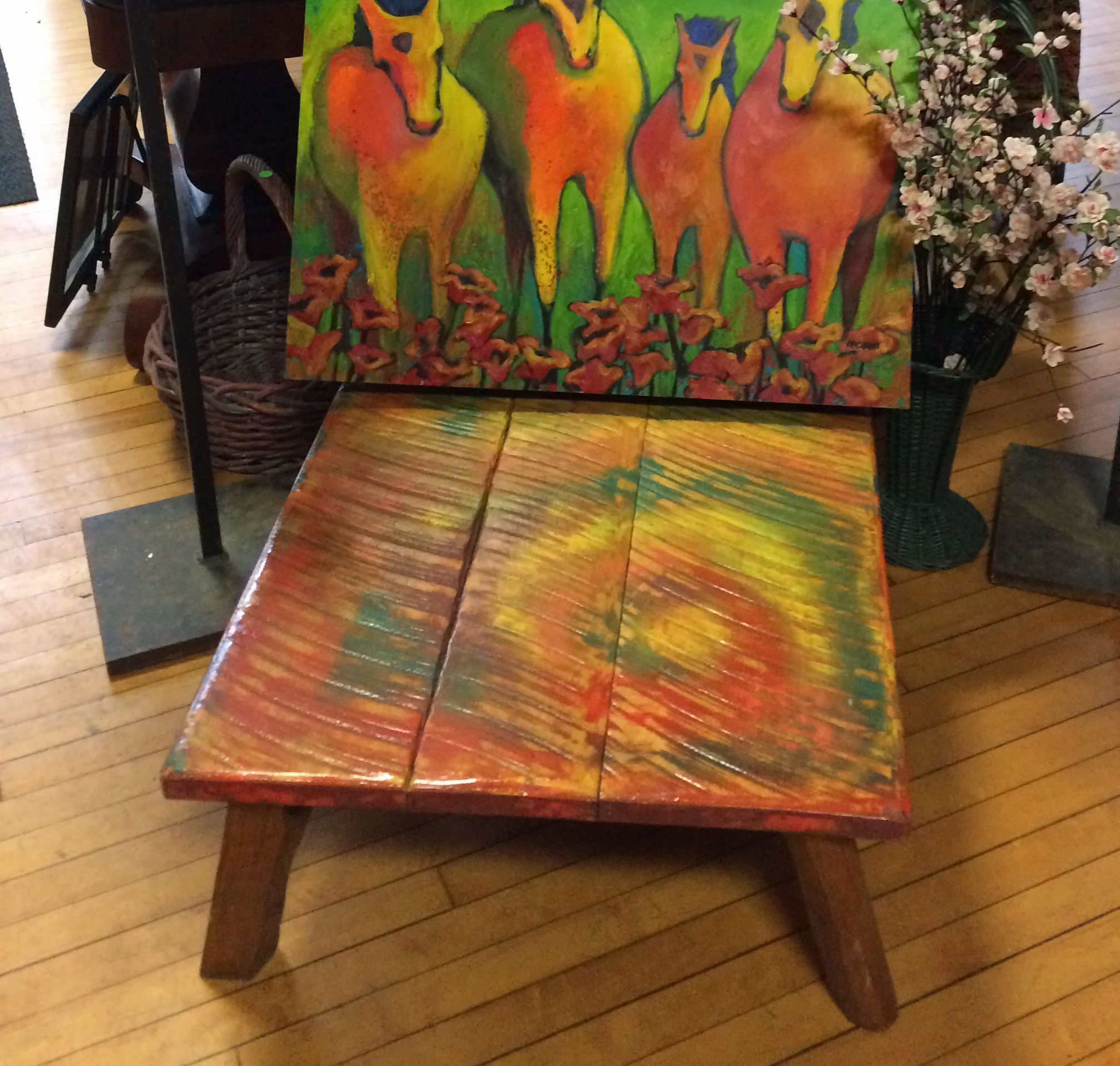 Ken Wollard, side table (in front of Erin Nazzaro painting)