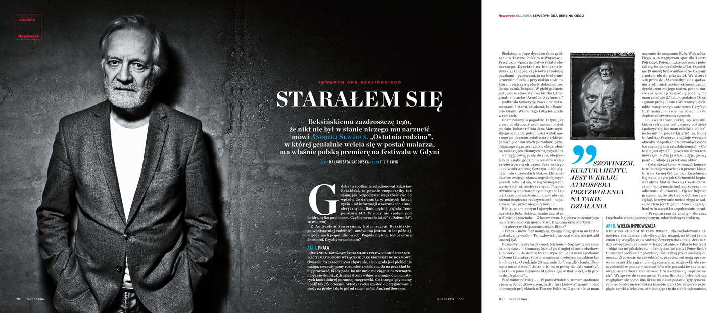 ANDRZEJ SEWERYN FOR NEWSWEEK POLSKA 39/2016