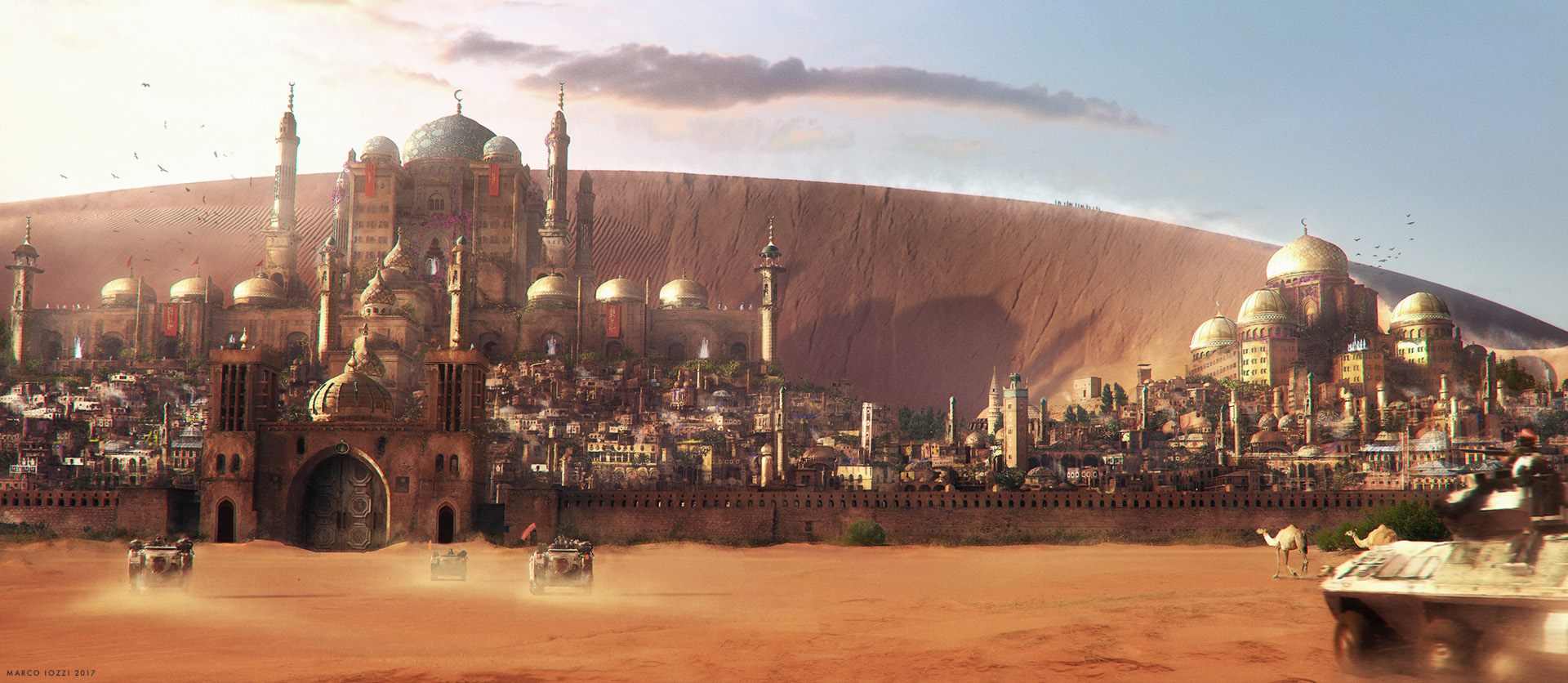 ENTERING GOLDEN CITY   - A view on a middle-east fictitious city hidden in the desert