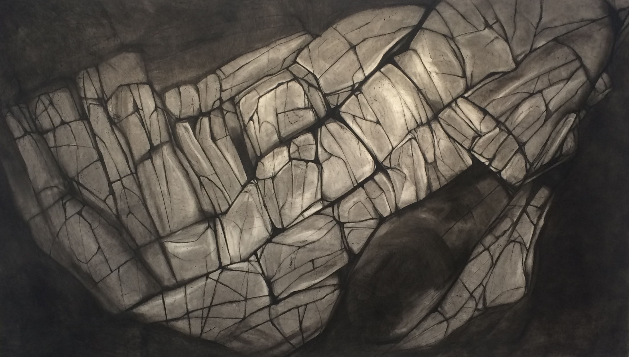 Ellis O'Connor -  Shifting Land  (Charcoal and conté on paper)