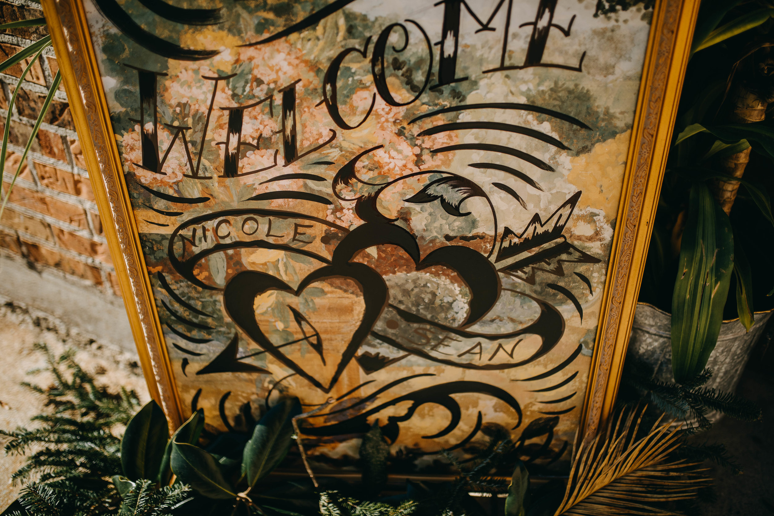 Canvas Welcome Sign | American Traditional Tattoo Themed Eco Friendly Dark Florida Wedding