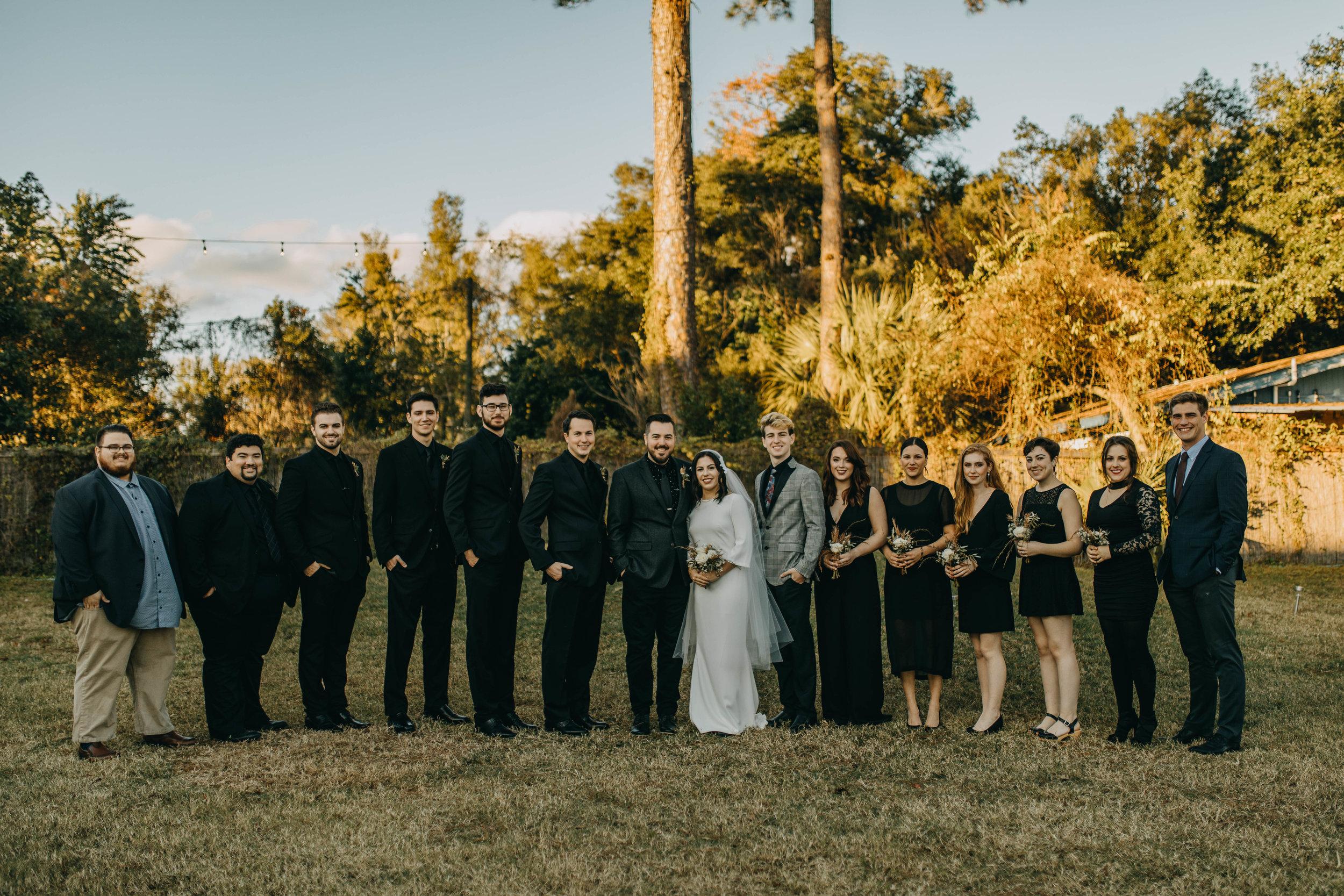 Bridal Party Photos | American Traditional Tattoo Themed Eco Friendly Dark Florida Wedding