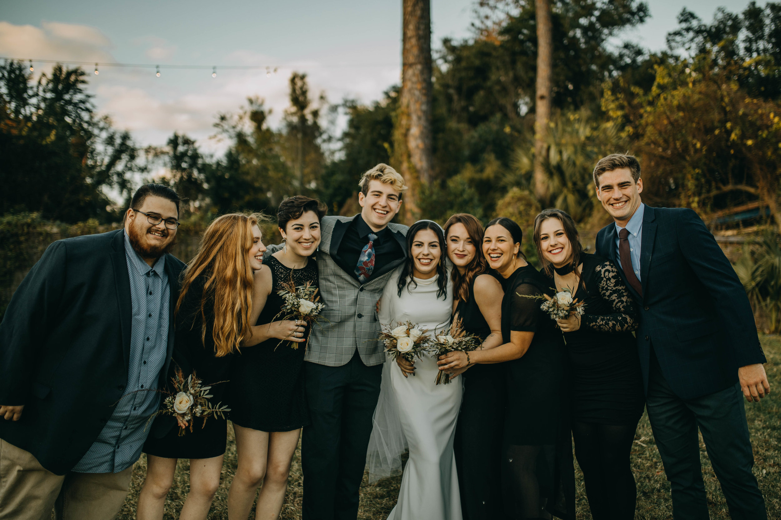 Fun Bridal Party Pictures | American Traditional Tattoo Themed Eco Friendly Dark Florida Wedding