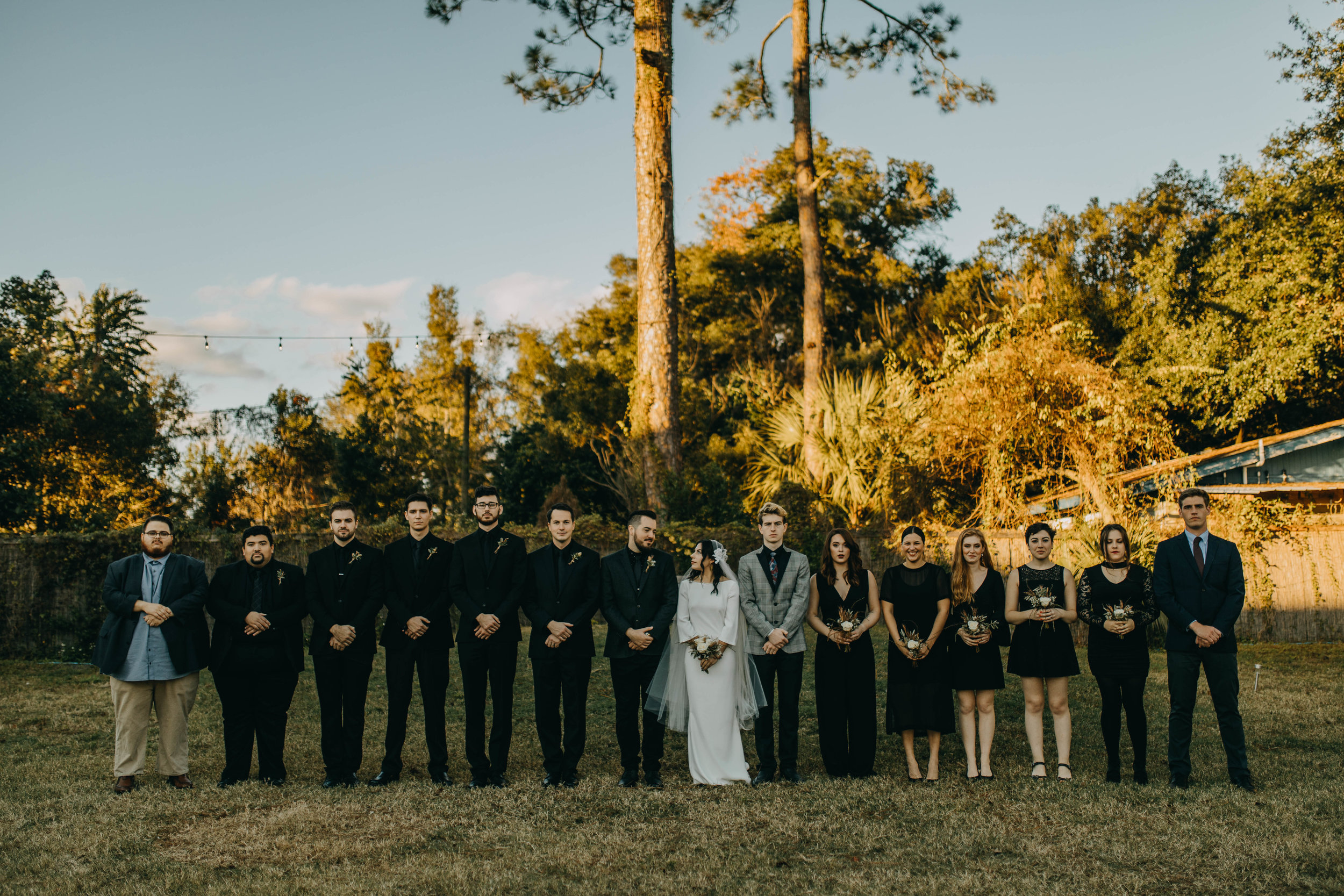 Bridal Party Pictures | American Traditional Tattoo Themed Eco Friendly Dark Florida Wedding