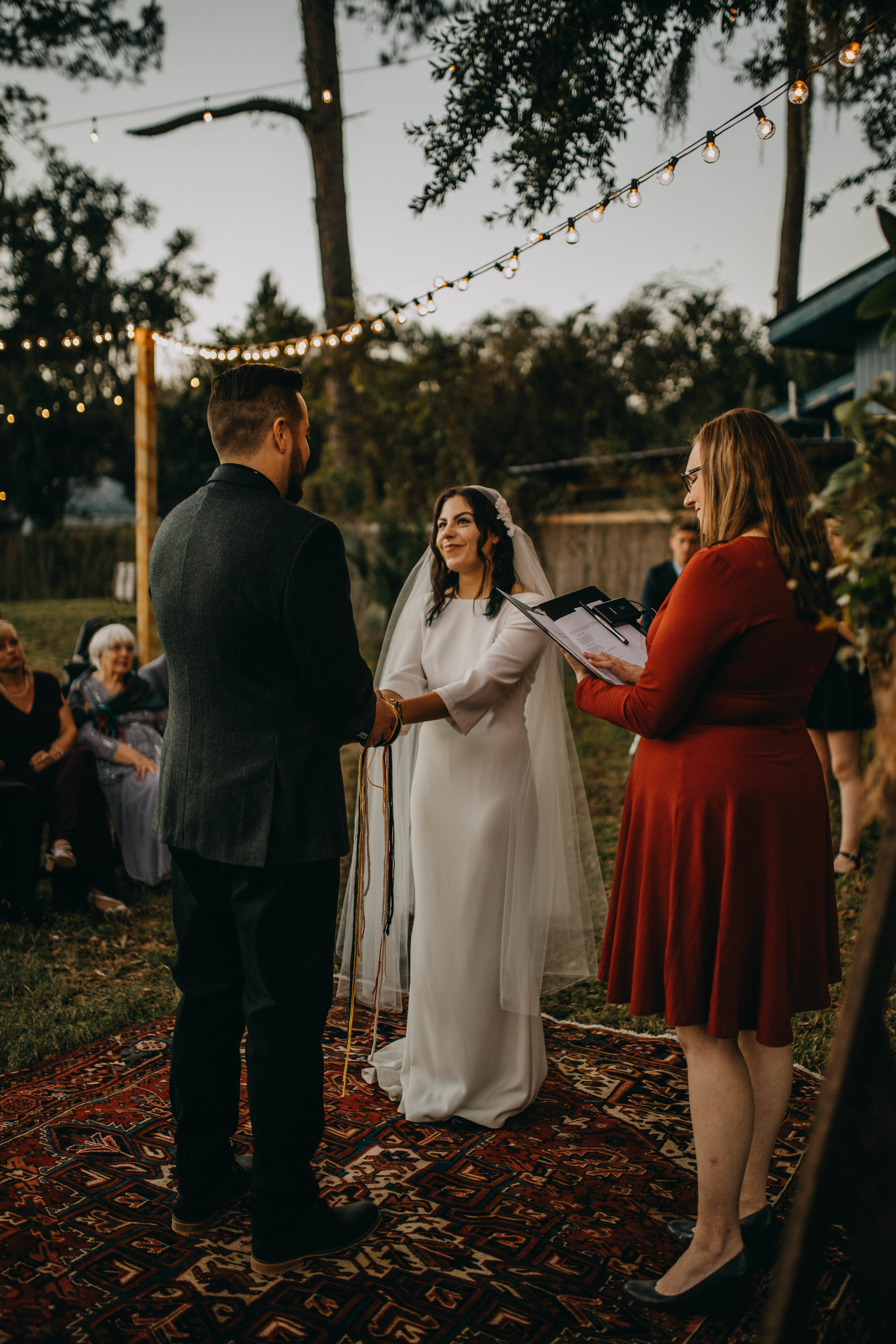 Sunset Outdoor Ceremony | American Traditional Tattoo Themed Eco Friendly Dark Florida Wedding