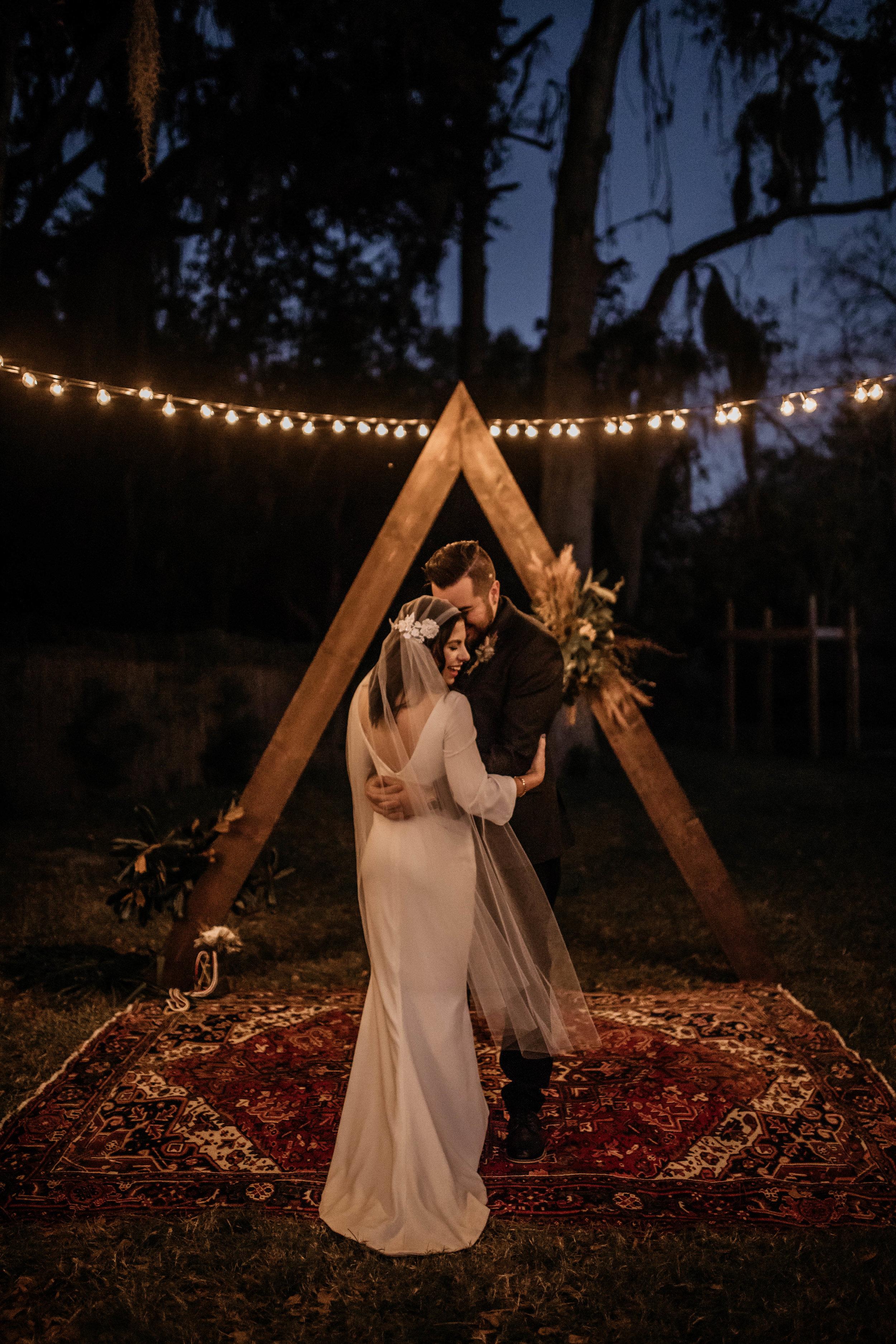Night Bride & Groom Photos | American Traditional Tattoo Themed Eco Friendly Dark Florida Wedding