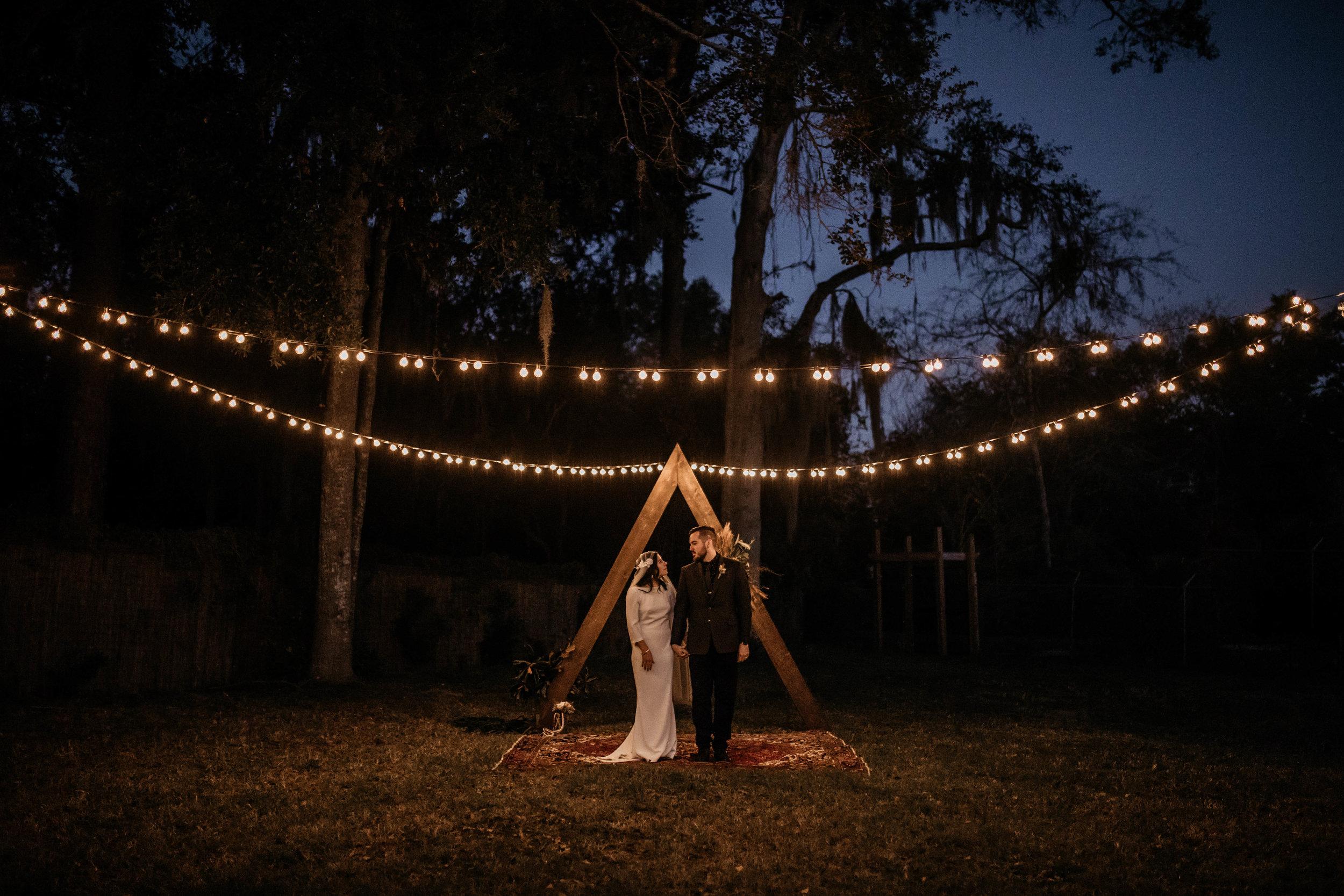 Outdoor Night Bride & Groom Photos | American Traditional Tattoo Themed Eco Friendly Dark Florida Wedding