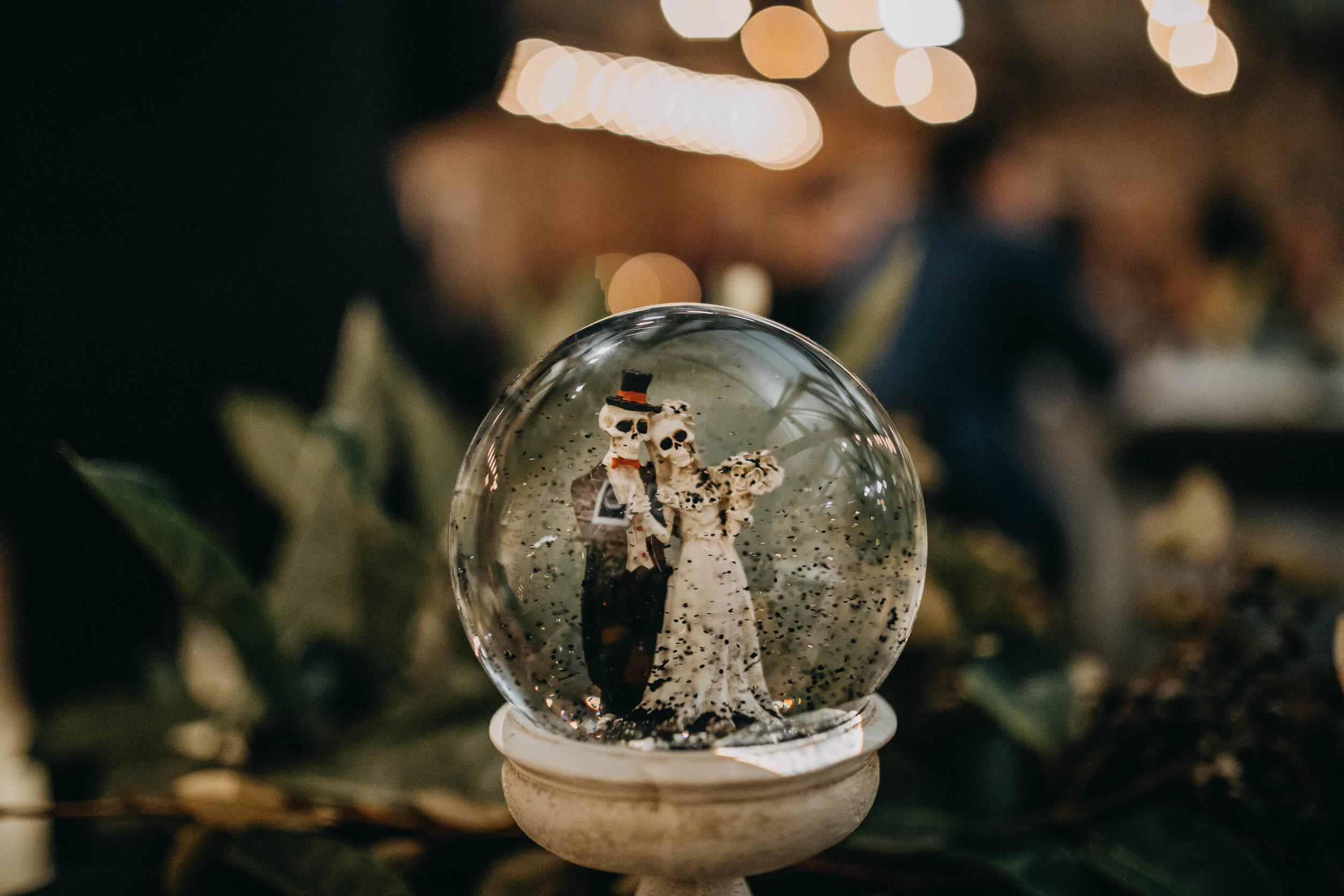 Snow Globe Decor | American Traditional Tattoo Themed Eco Friendly Dark Florida Wedding