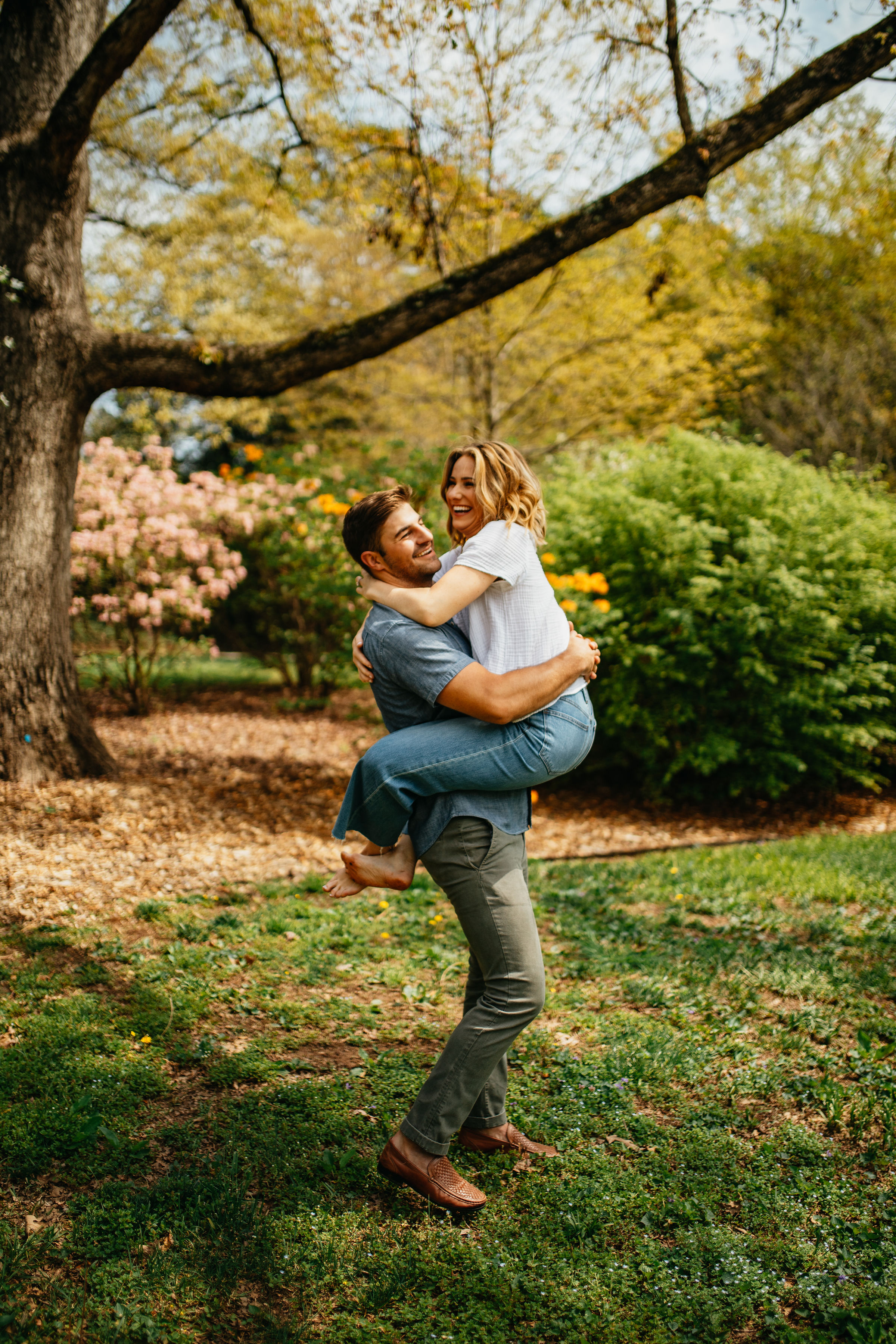 Colorful Flower Garden Engagement Photos