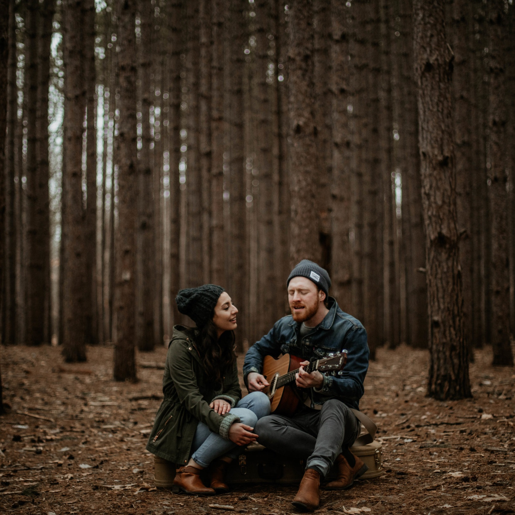 Bobby & Raquel - Intimate pine forest engagement session filled with music.