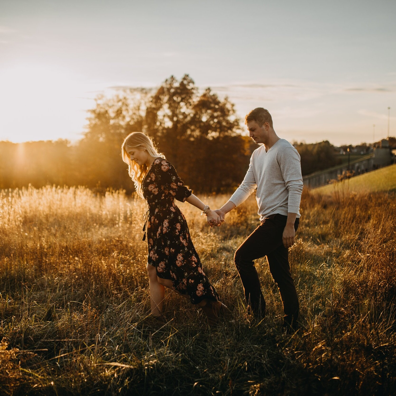 Shelby & Riley - Columbus, Ohio woodsy + field sunset engagement session.