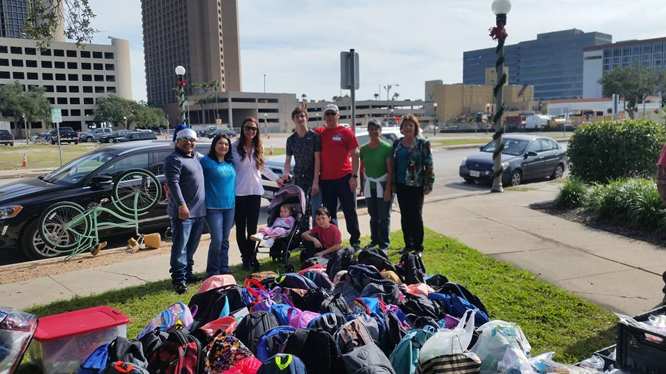 With the help of donations from students and administration of Odem-Edroy ISD we were able to collect 75 backpacks that were filled with warm blankets, hats, socks, snacks and hygene kits for our homeless friends at Artesian Park.