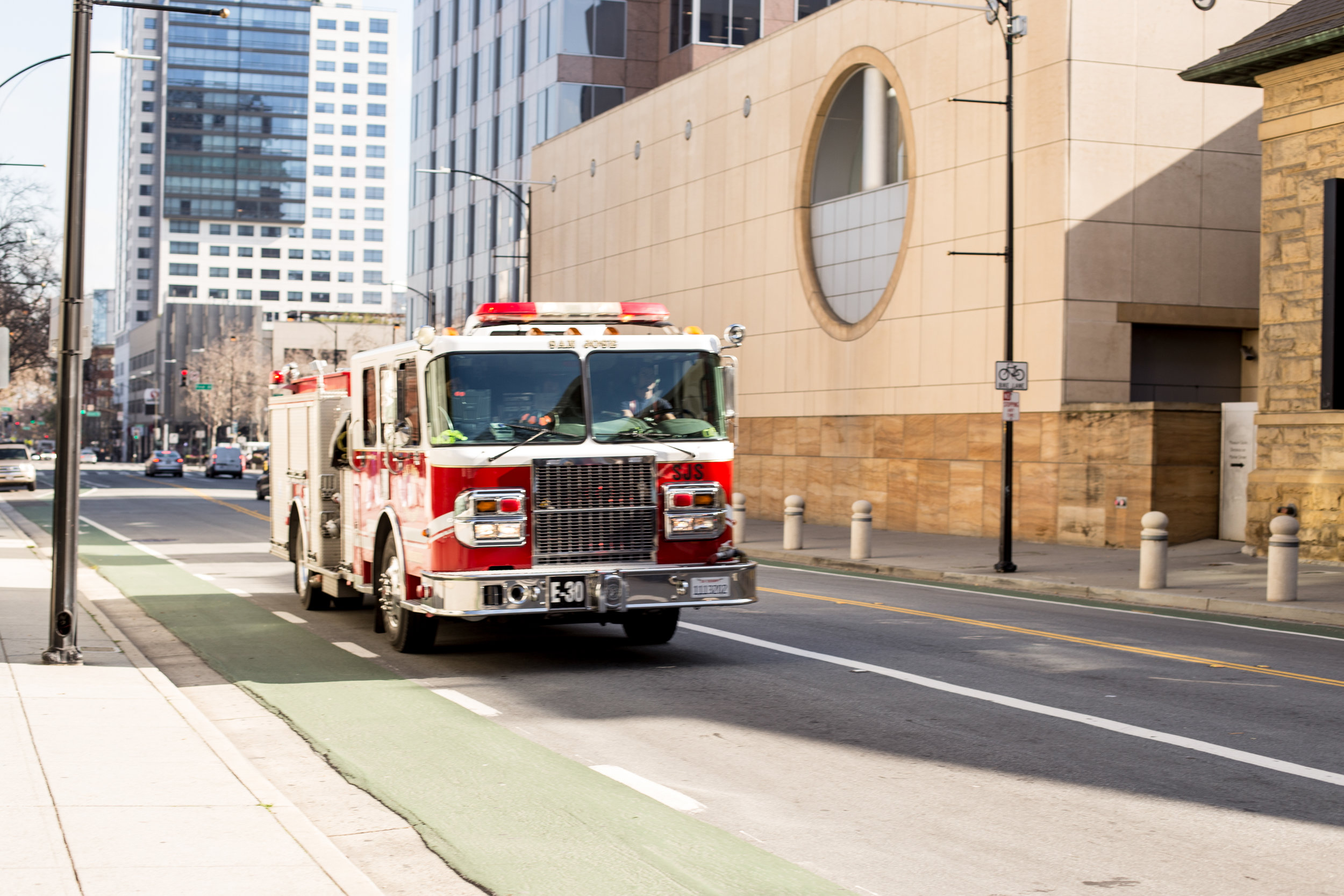 San Jose firetruck driving in downtown