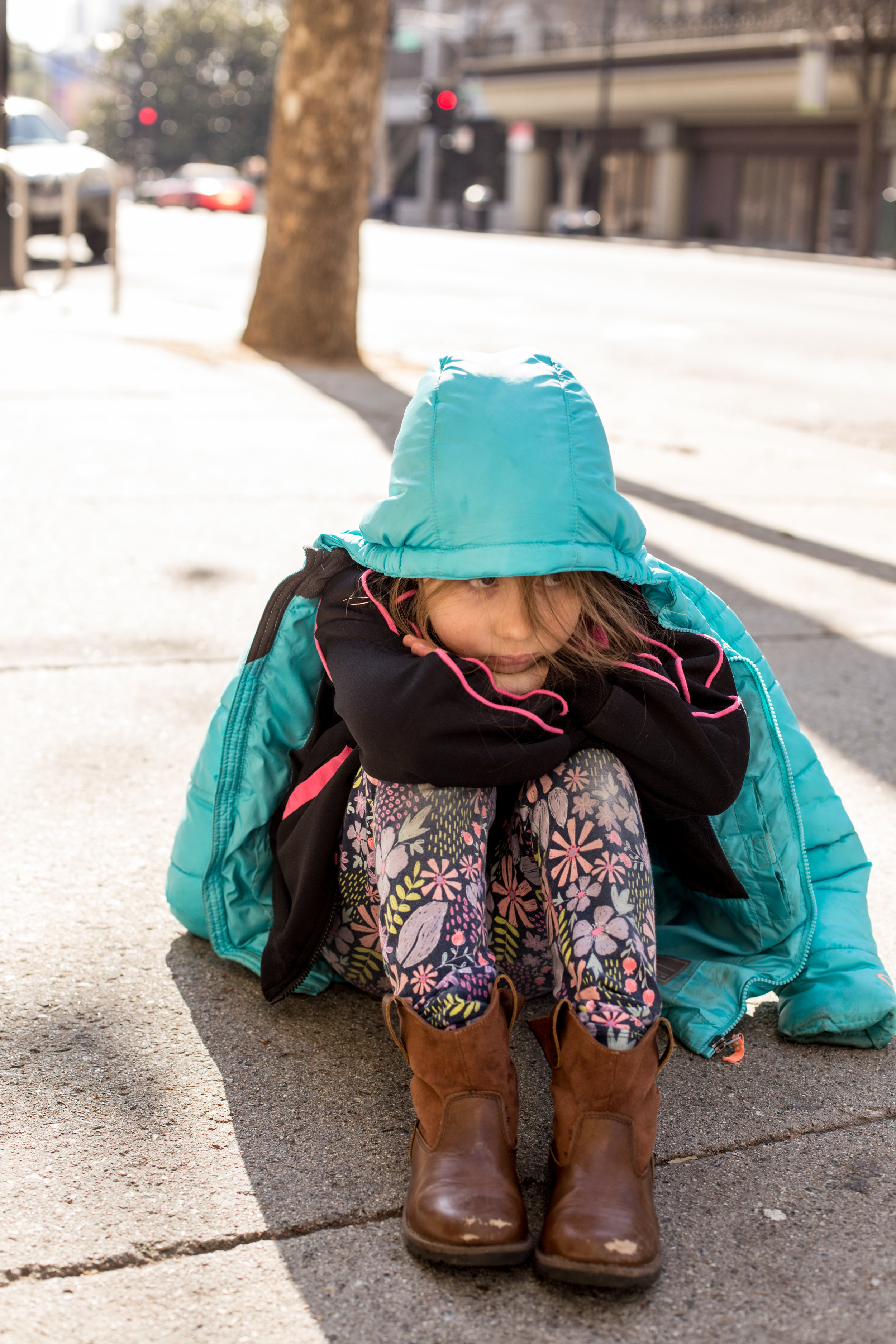 Little girl tired in downtown San Jose