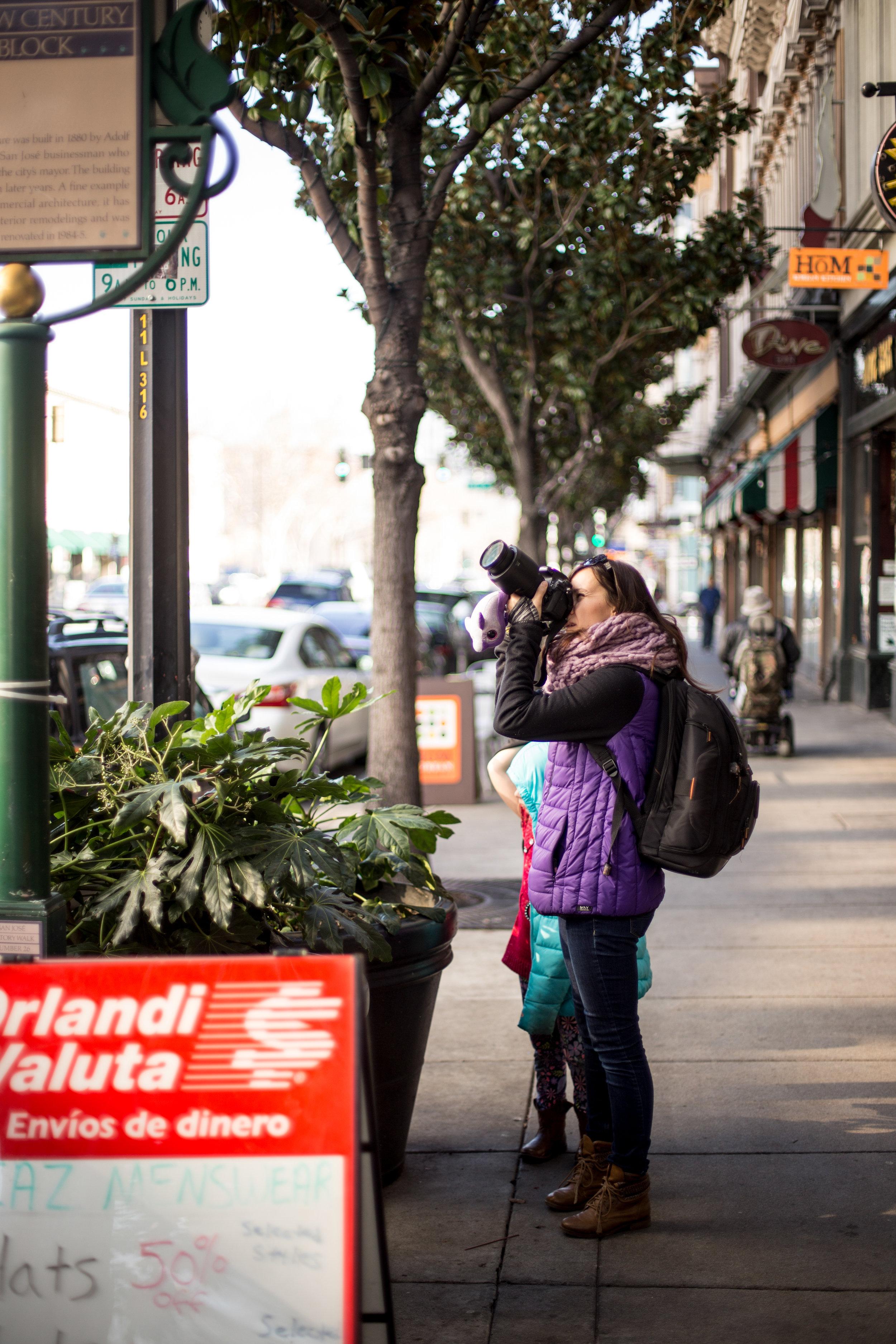 Ewa Samples Photography taking a photo in downtown San Jose
