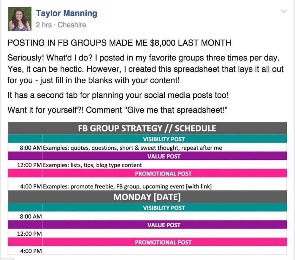 Screenshot Facebook Group Strategy