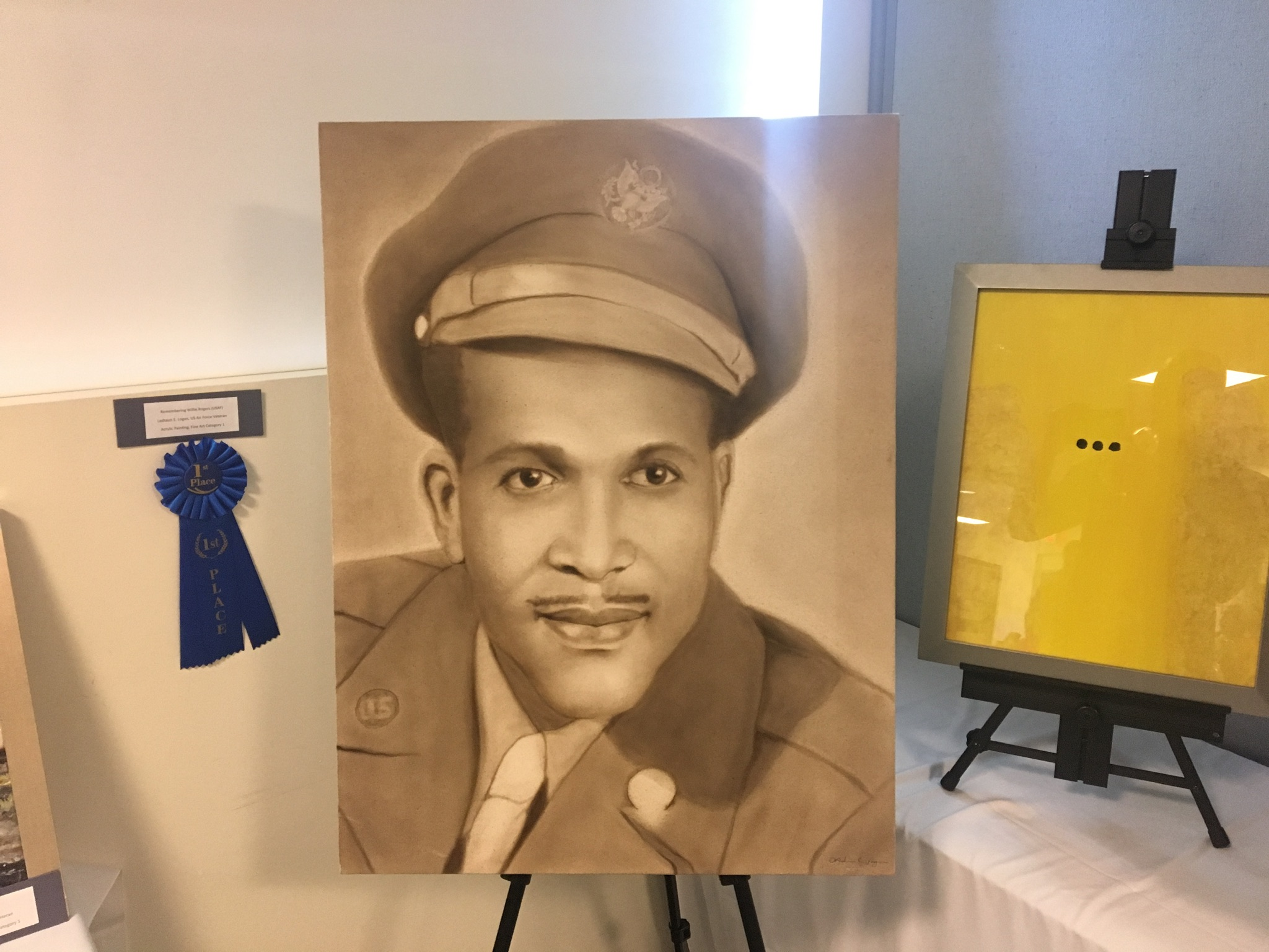 Airbrush portrait of Willie Rogers USAF