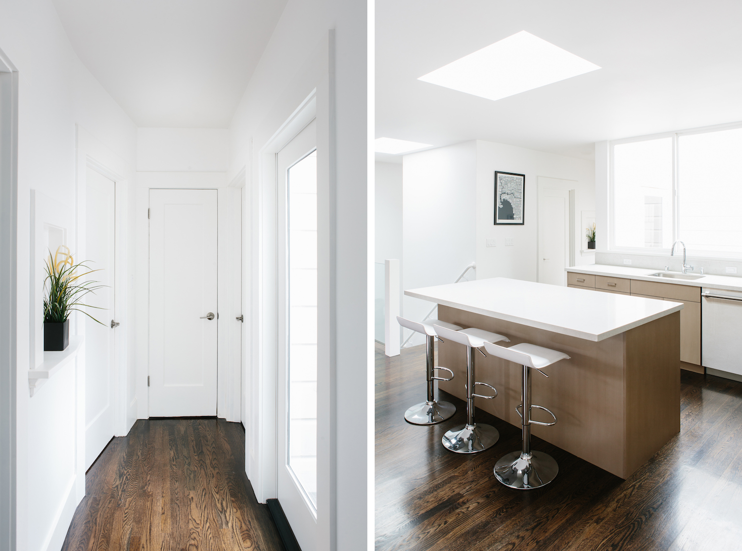 hallway with white walls and wood flooirng and kitchen with light wood cabinets and white counters and bar seating and wood flooring.jpg