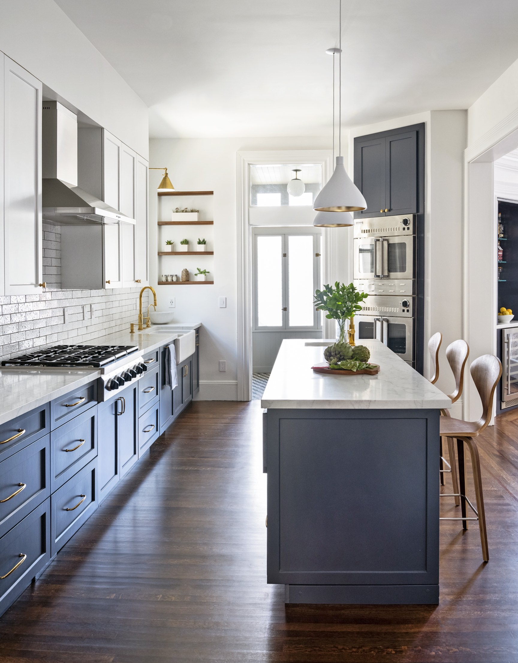 eclectic kitchen remodel with gray blue and white wood open shelves.jpg
