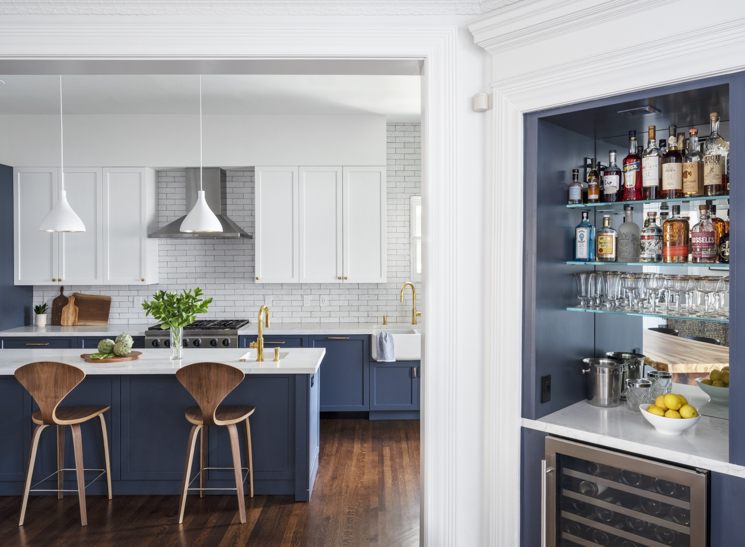 san francisco kitchen remodel blue and white with warm wood and built-in bar.jpg