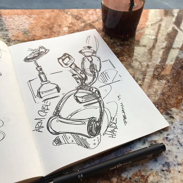 Guess who's back...back again | Today was a nice ass day in NYC | So here's a quickie sketch of some arm cable handles | there's no story behind it, don't think about it too much | it was just nice just #sketching out of work after so long . . . #id #idsketch #fienasback #sketch #industrialdesign #productdesign #gymrat #design #designsketch #productsketch #pensketch #designer #designlife #designboom #industrialdesigner #sketchbook