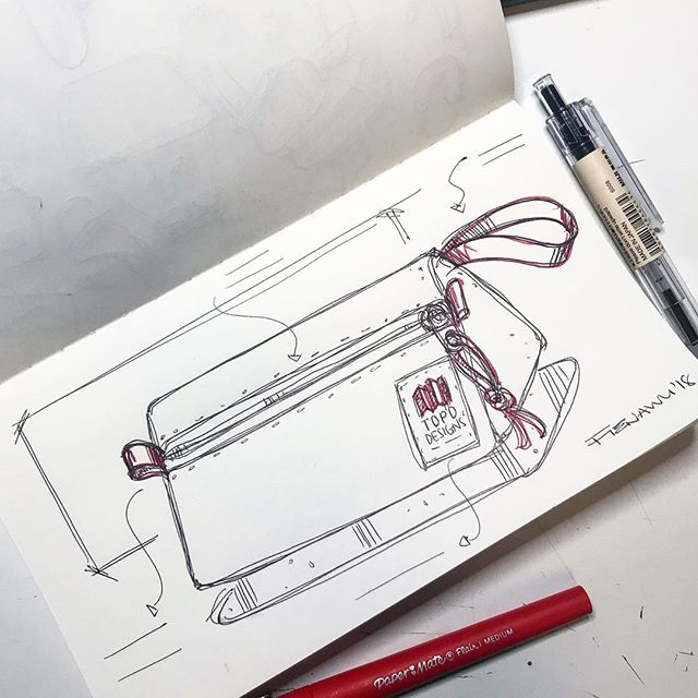 A Good Ole Soft Goods Sketch | Decided to quickly #sketch out @topodesigns Dopp kit because it cute yo | Used @paper_mate flair and @mujiusa polycarbonate ballpoint pen in 0.7mm tip on one of muji's notebooks | I also think it's still 2018...but I swear it's a 2019 sketch
