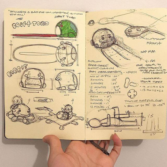 Sophomore Sketchbook Archives | SWIPE! | My first toy design project when I was in school | I wrote out every thought I had and did scratchy sketches all over the page | I kept one sketchbook per semester and filled it out with design and class critique notes | See the completed project on my website! Link in bio 🤗 . . . #id #idsketch #sketchbook #moleskine #sketch #sketchdaily #productsketch #industrialdesign #industrialdesigner #productdesign #toydesign #fisherprice #cute #ribbit #designporn #pensketch #designer #design
