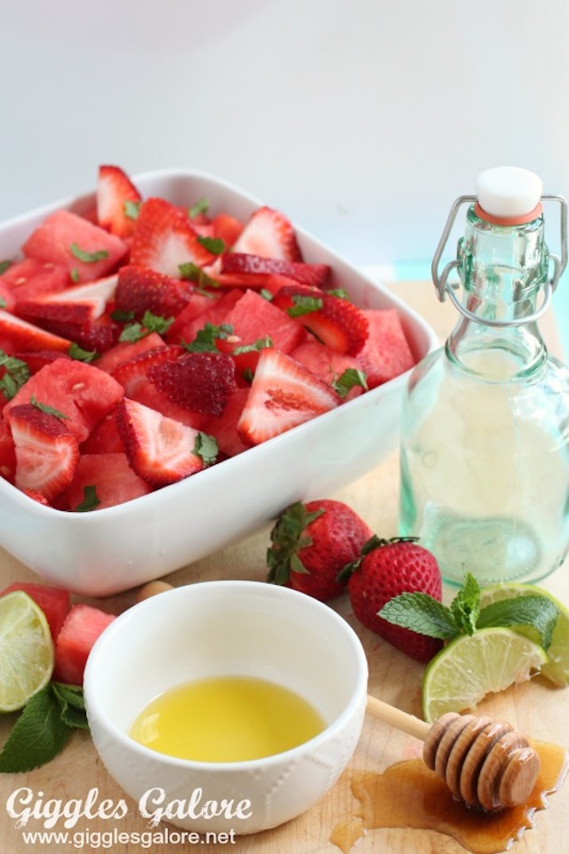 Watermelon Strawberry Salad from  Giggles Galore