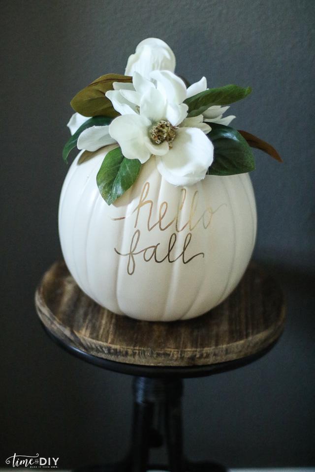 DIY Magnolia Pumpkin from Time to DIY via  Lolly Jane