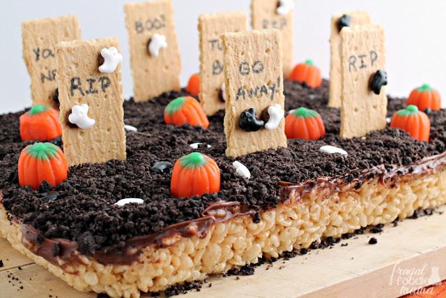 Graveyard Rice Krispies Treats from  Frugal Foodie Mama