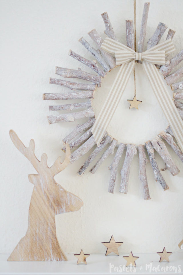 Wooden Wreath from  Pastels + Macarons