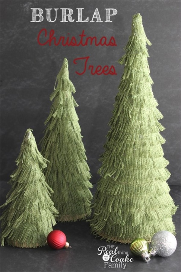 Burlap Christmas Trees from  The Real Thing With The Coake Family