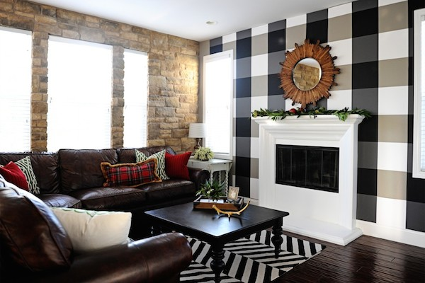 DIY Plaid Check Wall from  Pink Peppermint Design