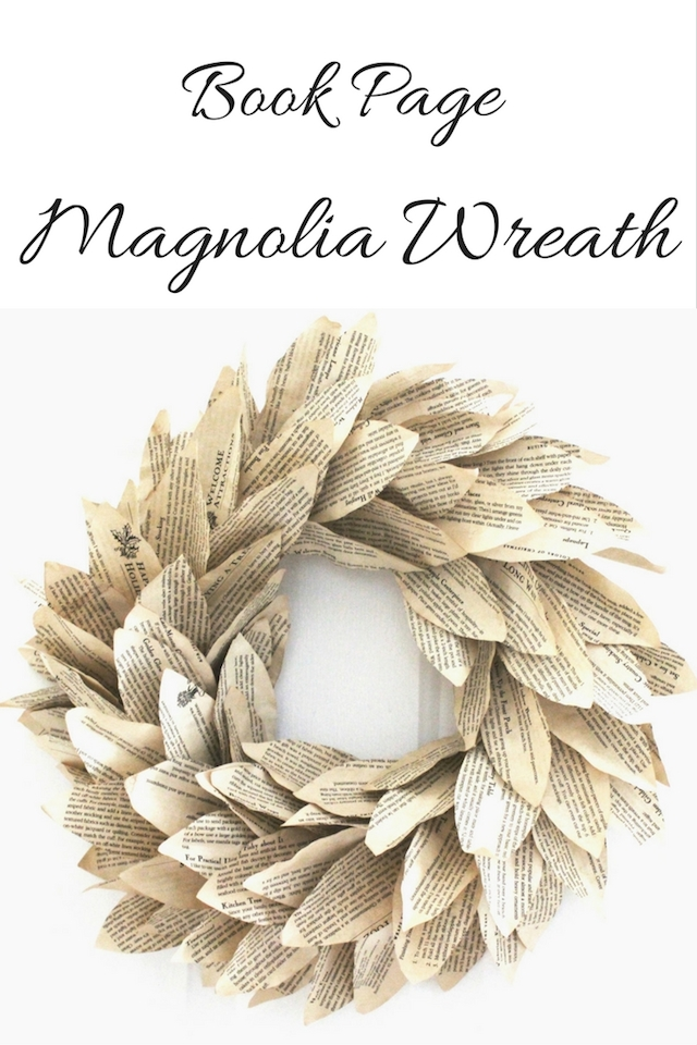 Book Page Magnolia Wreath from  Seeking Lavender Lane