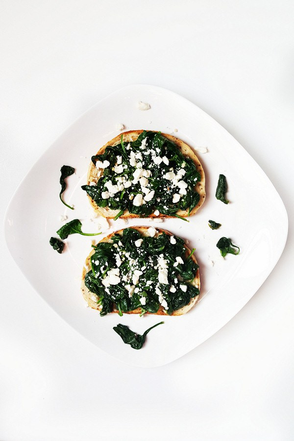 Sinach and Feta Toast from  Courtney's Cookbook