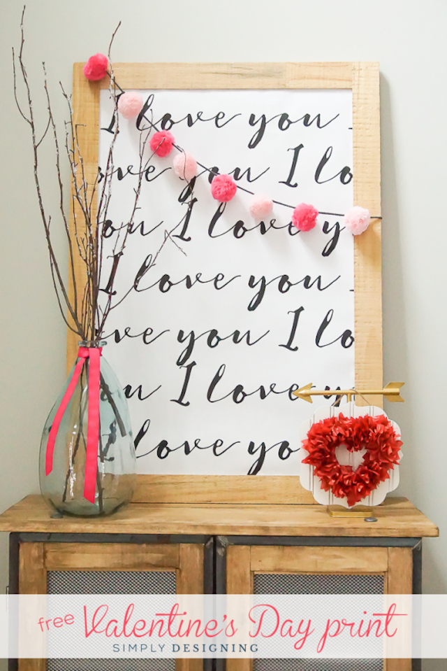 I Love You Printable from  Simply Designing