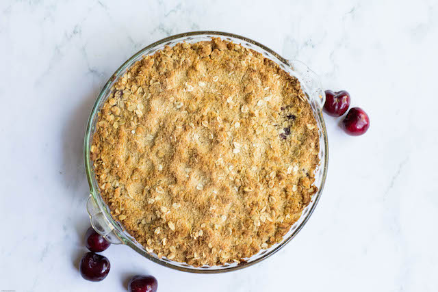 Cherry Crisp Recipe with Almond Whip Cream from  Thinking Outside the Sandbox