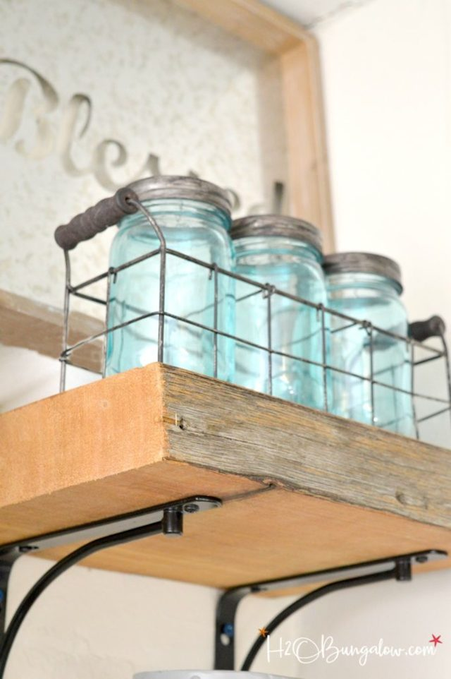 DIY Reclaimed Wood Kitchen Shelves from  H2O Bungalow