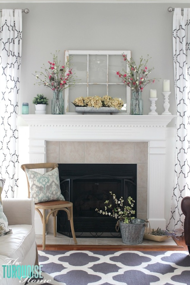 Farmhouse Fresh Spring Mantel from  The Turquoise Home