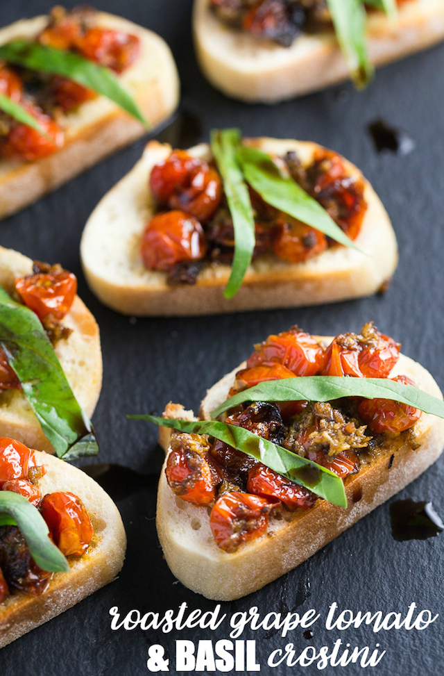 Roasted Grape Tomato and Basil Crostini from  Simply Stacie