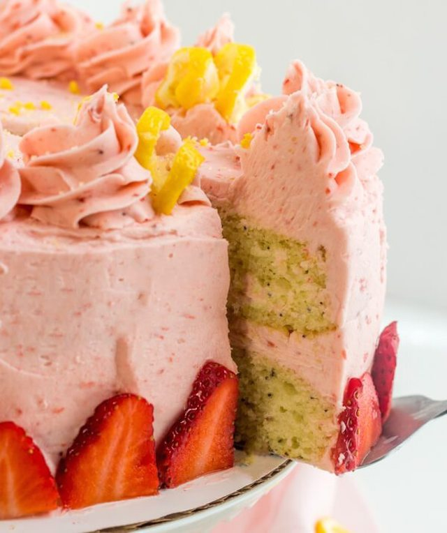 Lemon Poppyseed Cake with Strawberry Buttercream from  Tinselbox