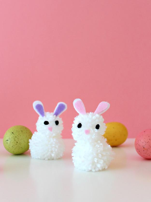 DIY Pom Pom Bunnies from  White House Crafts
